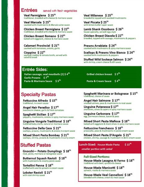 Paesano's Italian Restaurant Steveston - Dinner Menu Page2
