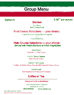 Paesano's Italian Restaurant Steveston Richmond BC Group & Party Menus Option A