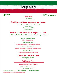 Paesano's Italian Restaurant Steveston Richmond BC Group & Party Menus Option B