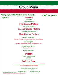 Paesano's Italian Restaurant Steveston Richmond BC Group & Party Menus Option C