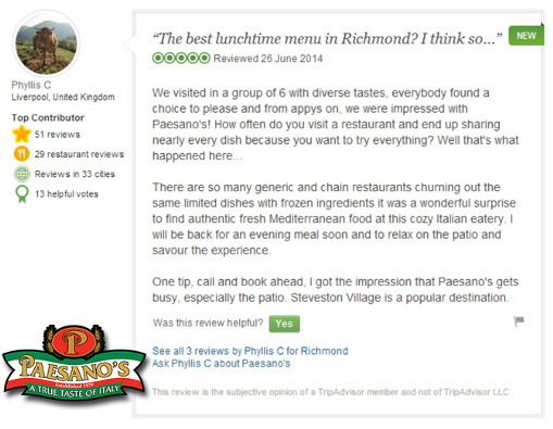Paesano's Italian Restaurant Steveston Village Richmond BC - TripAdvisor Review June 2014
