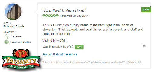 Paesano's Italian Restaurant Steveston Village Richmond BC - Trip Advisor Review May 29 2014